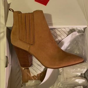 Block Heeled Light Brown Leather Booties